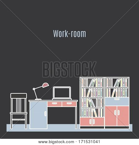 Work room interior design in line art style. Vector illustration