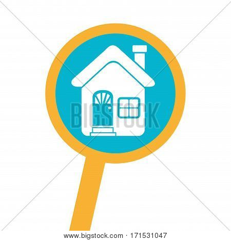 loupe with silhouette facade house vector illustration