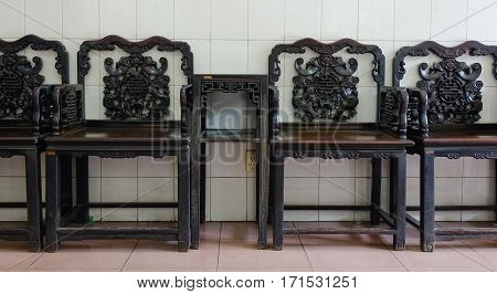 Chinese-style Wooden Chairs At Living Room