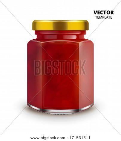 Jam jar glass mockup vector isolated on white background. Glass jar mockup for design presentation ads.