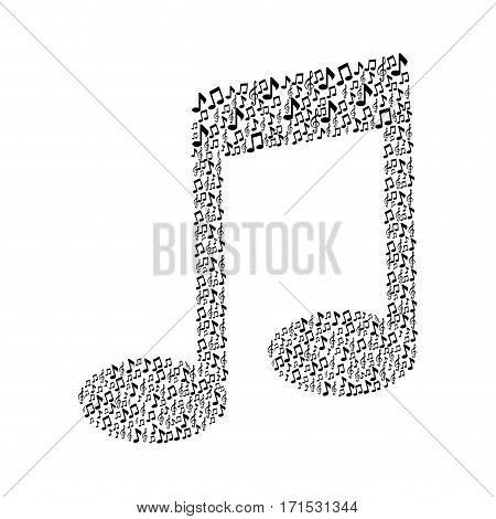pattern in shape music sing with musical notes vector illustration