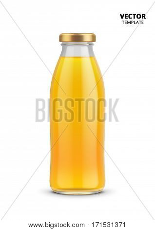 Juice bottle glass mockup vector isolated on white background. Fruit beverage glass bottle for design presentation ads. Juice bottle mockup. Design of vector juice bottle. Original form bottle for design juice packaging or label.
