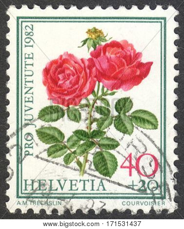 MOSCOW RUSSIA - CIRCA JANUARY 2017: a post stamp printed in SWITZERLAND shows Roses