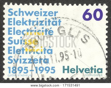 MOSCOW RUSSIA - CIRCA JANUARY 2017: a post stamp printed in SWITZERLAND dedicated to the Association of Swiss Electric Companies circa 1995