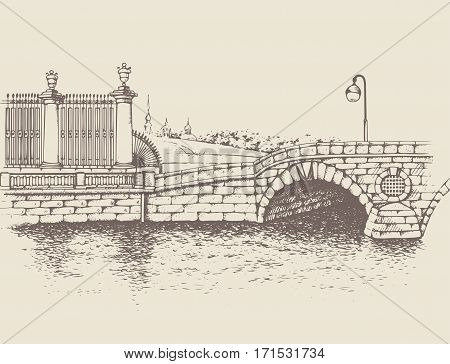 Historic bridge on Fontanka embankment, St. Petersburg. One of the first stone bridge built in city. Traced image. Original drawings by hand, you can also find in my portfolio BITMAP folder.