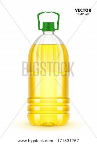 Vegetable oil bottle vector isolated on white background. Plastic bottle mockup for design presentation ads. Vegetable oil bottle mockup. Vegetable oil bottle design. Soybean oil bottle or sunflower oil bottle.