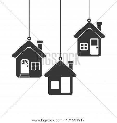 silhouette set collection Hanging houses vector illustration