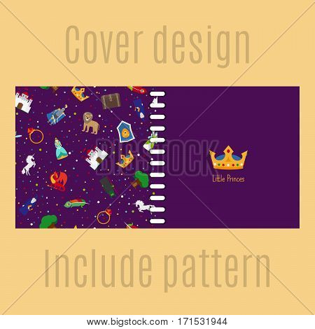 Cover design for print with princess patter. Vector illustration