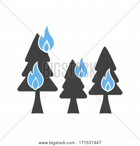 Fire, trees, flame icon vector image. Can also be used for firefighting. Suitable for use on web apps, mobile apps and print media.