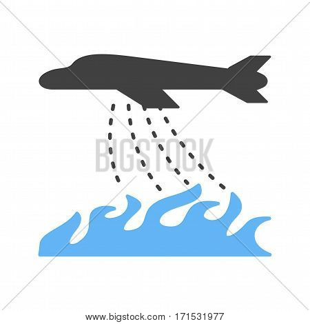 Fire, water, plane icon vector image. Can also be used for firefighting. Suitable for use on web apps, mobile apps and print media.