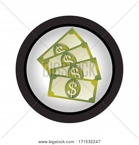 several banknote in circular frame vector illustration