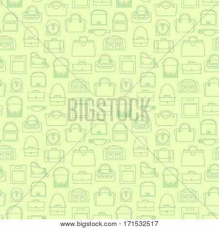 Green fashion bags in line art, seamless pattern. Vector illustration