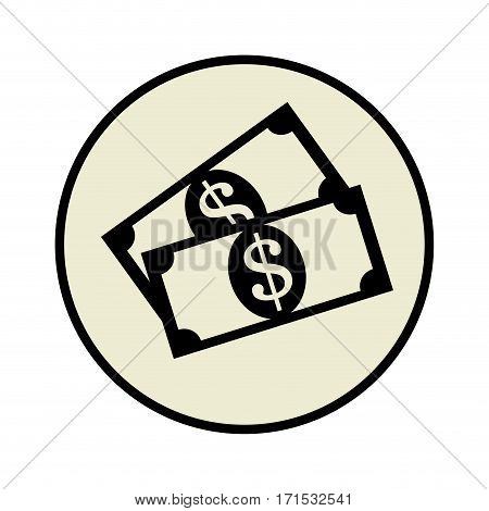 circular frame set collection banknote with dollar sign vector illustration