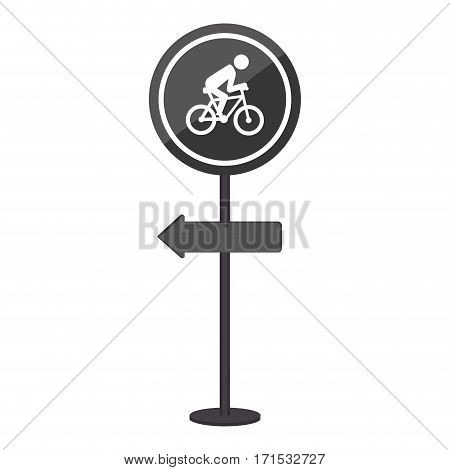 sihouette pole with road sign with ride bike symbol vector illustration