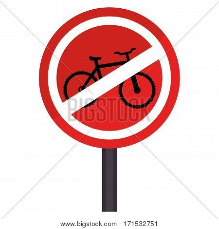circular contour road sign prohibited parking area for bicycles vector illustration