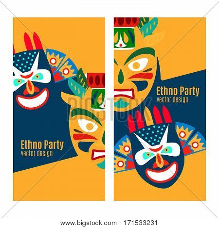 Yellow ethno party vertical flyers with masks. Vector illustration