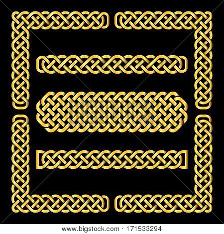 Golden celtic knots vector borders and corner elements. Element ethnic frame illustration