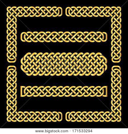 Golden celtic knots vector borders and corner elements. Element ethnic frame illustration