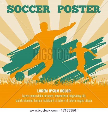 Soccer players vector poster template. Illustration of sport football banner