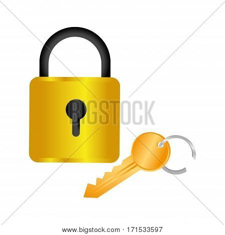 colorful square padlock with key vector illustration
