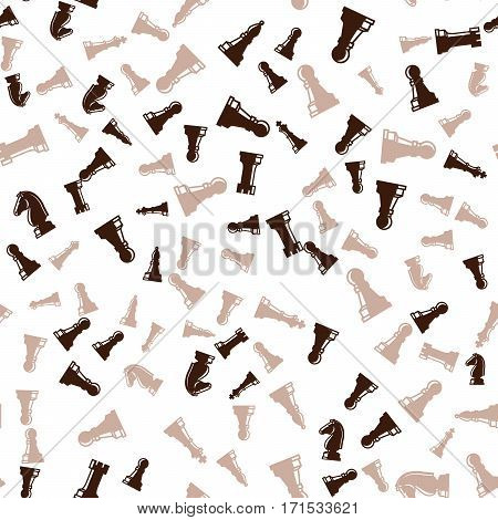Brown chess pieces seamless pattern with white background. Vector illustration