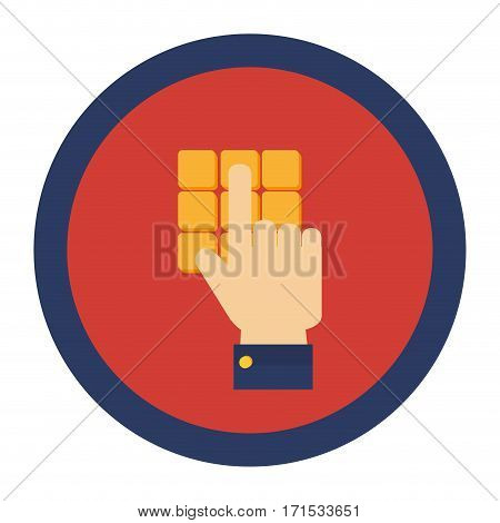 circular border with Hand typing on cashier panel vector illustration