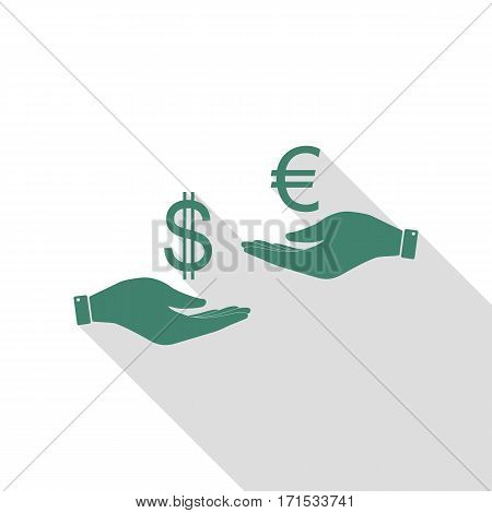 Currency exchange from hand to hand. Dollar adn Euro. Veridian icon with flat style shadow path.