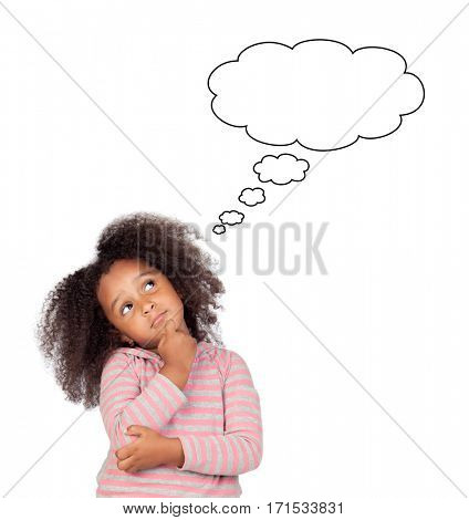 Funny african girl with afro hairstyle thinking something isolated on white background