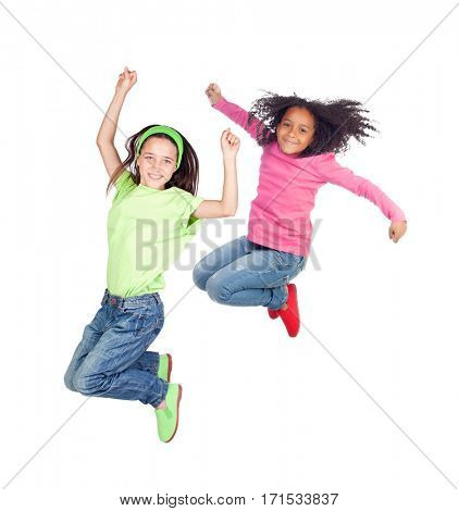 Two children jumping isolated on a white background
