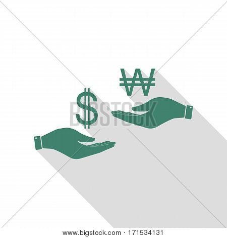 Currency exchange from hand to hand. Dollar and South Korea Won. Veridian icon with flat style shadow path.