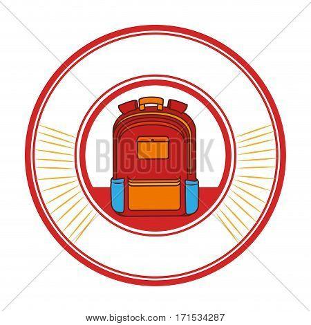 circular frame with school briefcase vector illustration