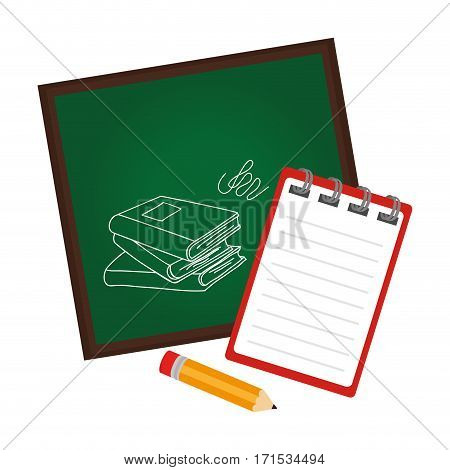 board school with notebook and pencil vector illustration