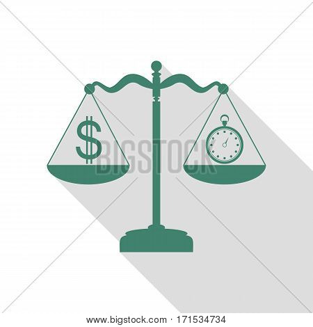 Stopwatch and dollar symbol on scales. Veridian icon with flat style shadow path.