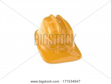 Yellow construction helmet on a white background 3d rendering safety concept