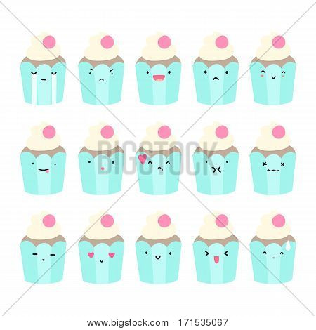 Set of cupcake emoji. Vector hand drawn illustration