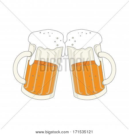 color silhouette with foamy beer glass vector illustration