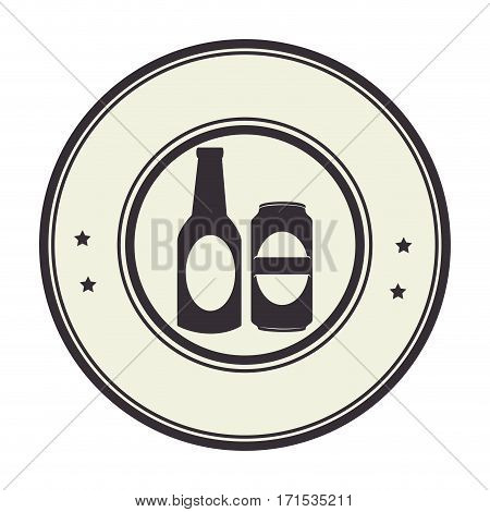 monochrome circular frame with beer bottle and canned beer vector illustration