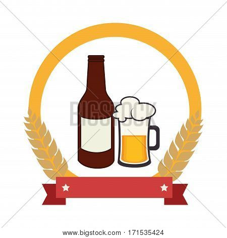 color emblem with beer bottle and glass