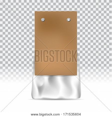 Food snack pack on transparent background. Craft paper and packing tape. Blank packaging mock up can be use for template your design, promo, adv. Vector illustration gradient mesh. object for branding