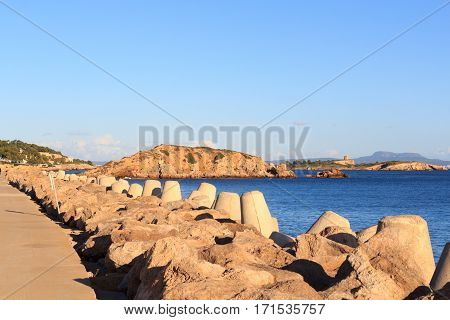 Mole And Mediterranean Sea At Harbour Puerto Portals In Portals Nous On Majorca, Spain