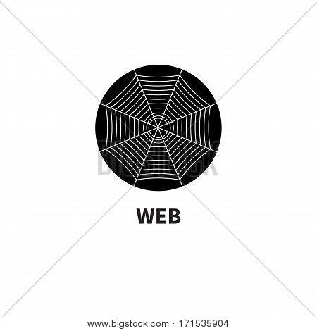 Icon web. Cobweb in circle isolated on white. Vector illustration.