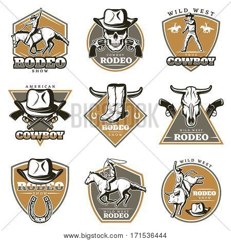 Colorful vintage rodeo labels set with cowboys riding animals weapon and wild west elements isolated vector illustration