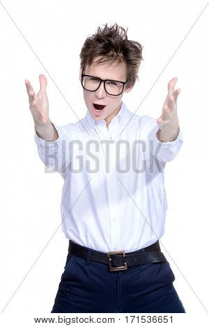 Expressive young man in big glasses and white shirt. Emotions. Success concept. Isolated over white.