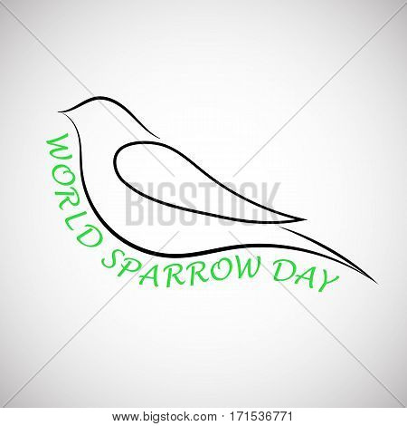 Lovely laconical card for world sparrow day. Print for t-shirt with sparrow