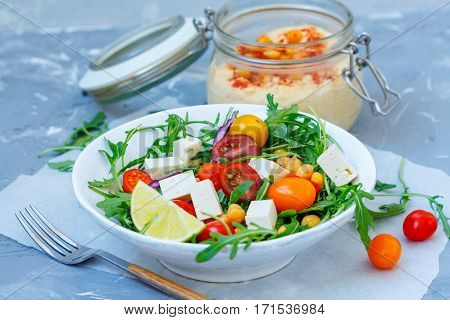 Healthy hummus homemade chickpea and veggies salad diet vegan food vitamin snack.