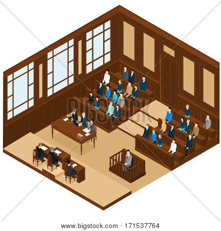 Isometric judicial session room template with different people and process of trial judgment vector illustration