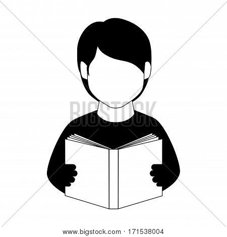 monochrome man half body with book vector illustration