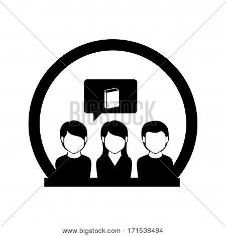 monochrome circle with students thinking in book vector illustration