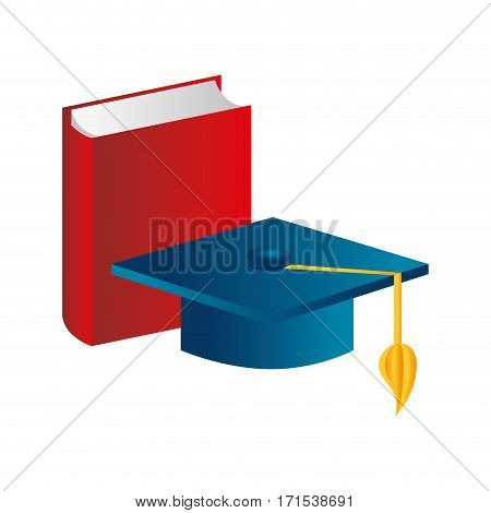 color silhouette with book and graduation hat vector illustration