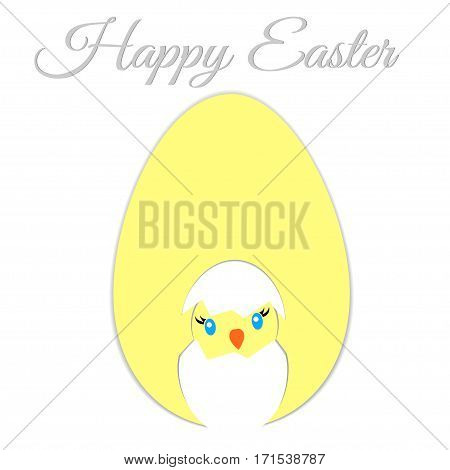 Easter egg chicken on white background on the white background